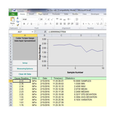 SW-1SV-USB Torque Data Acquisition Software